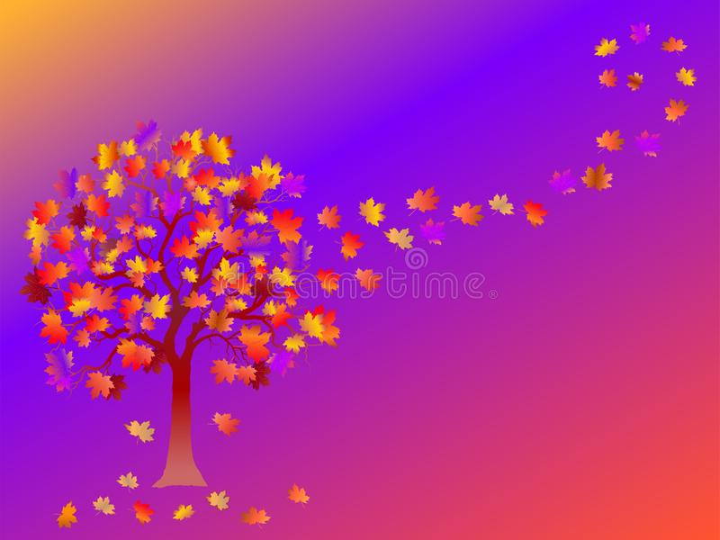 Fall background with colorful tree and falling leaves on purple background. royalty free illustration