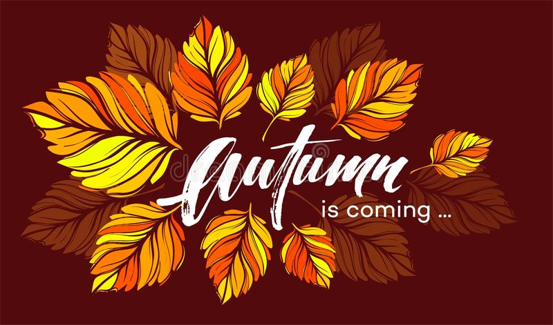 Fall background design with colorful autumn leaves. Vector illustration stock illustration