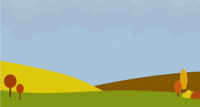 Fall background. With cloudy sky. Autumn landscape with fields. Vector illustration stock illustration