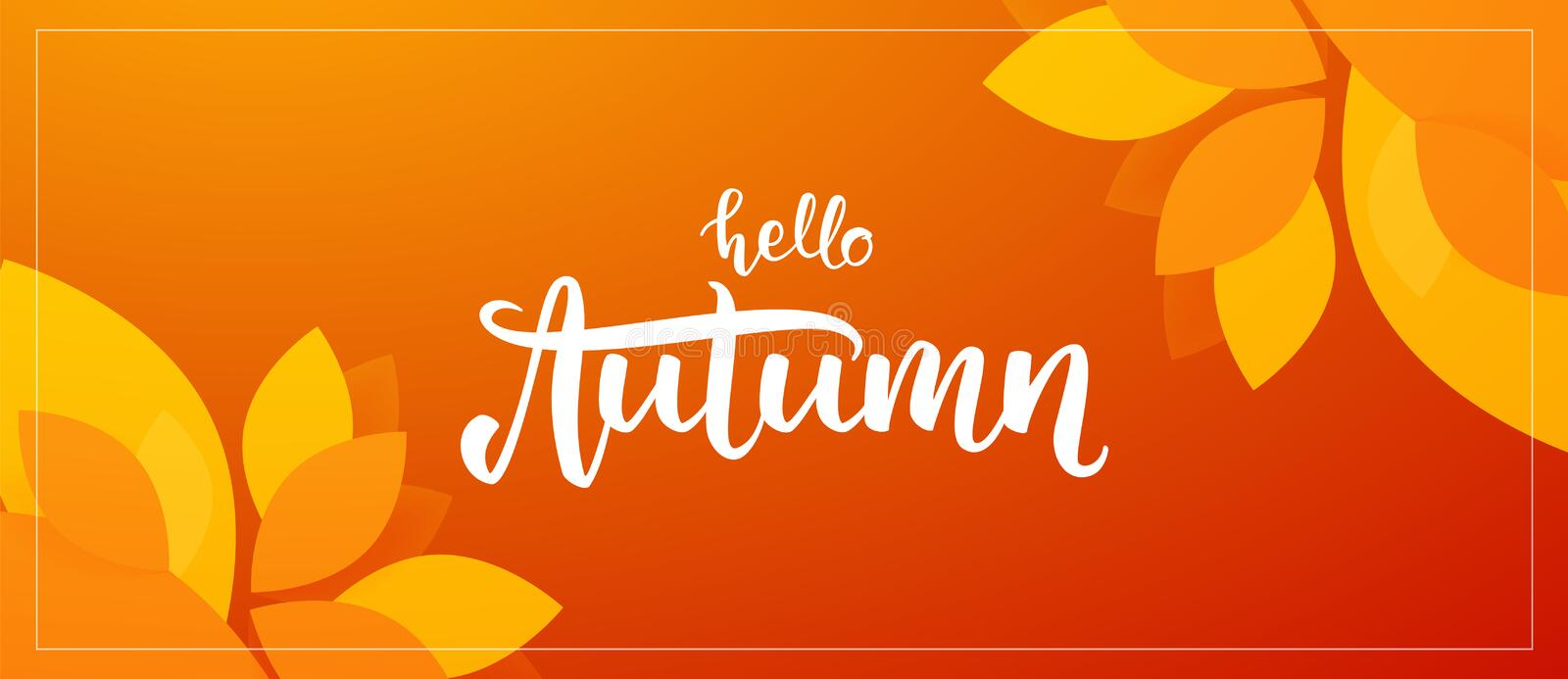 Fall background with handwritten lettering of Hello Autumn with leaves on orange background. Vector illustration: Fall background with handwritten lettering of vector illustration