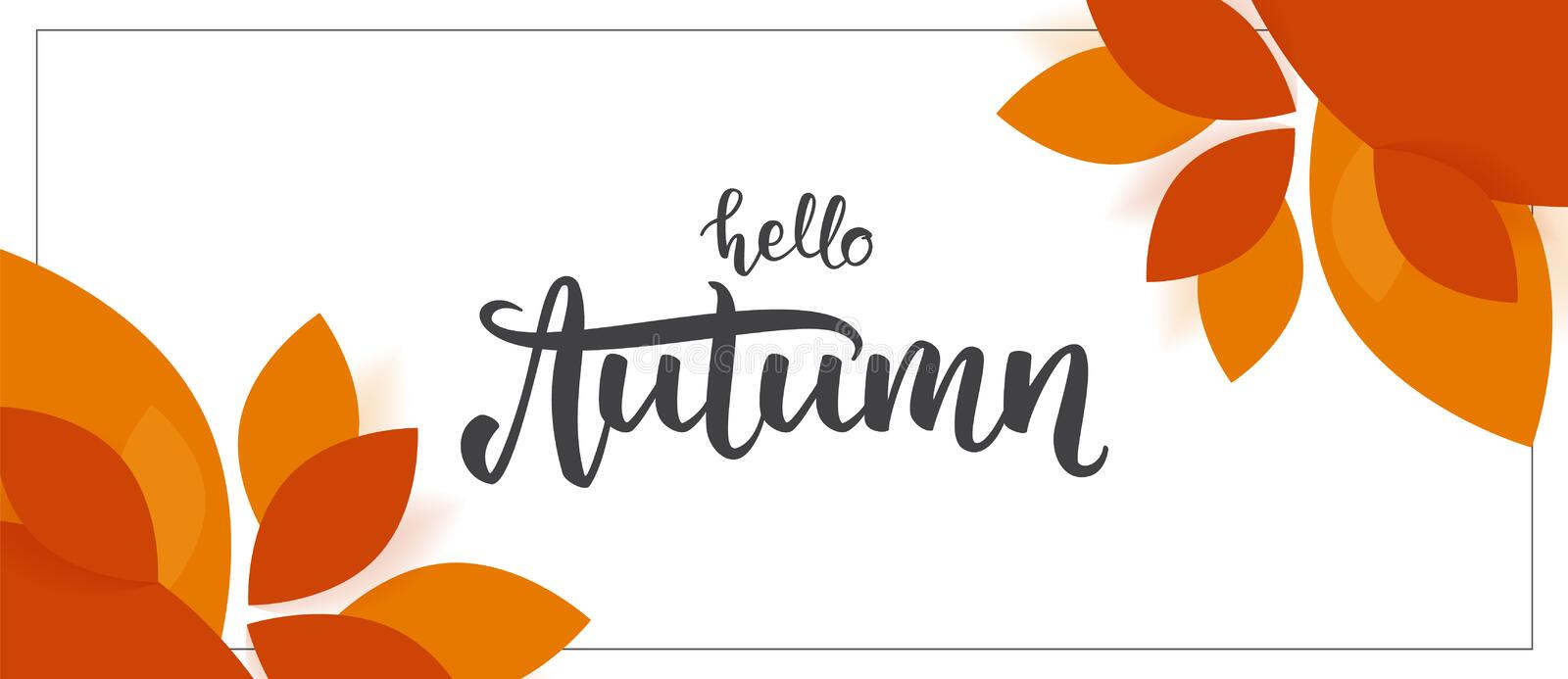 Fall background with handwritten lettering of Hello Autumn with leaves on white background. Vector illustration: Fall background with handwritten lettering of stock illustration