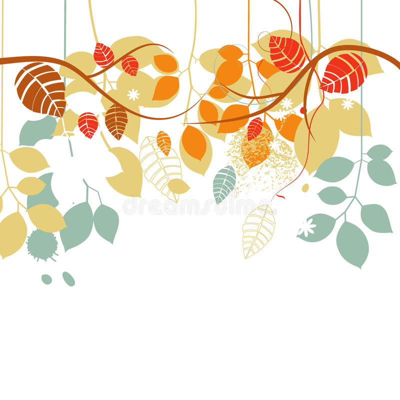 Fall background. Tree branches and leaves in bright colors over white vector illustration