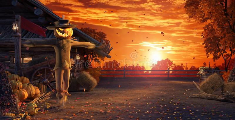 Fall in backyard with leaves falling from trees and Halloween pumpkin scarecrow, autumn background. 3D Rendering stock photo