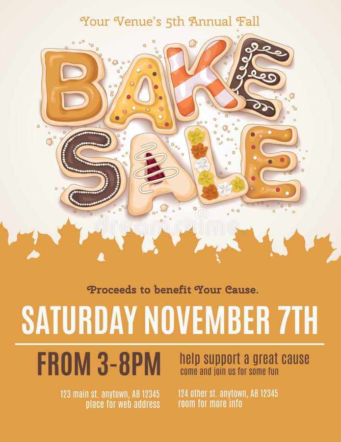 Free Fall Bake Sale Flyer Stock Images - 61035694