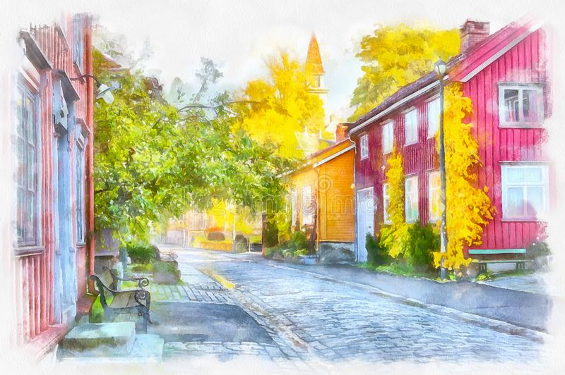 Fall in Bakklandet, Trondheim. Digital art, aquarell : Bakklandet- popular touristic district in the Norwegian city Trondheim with colorful old houses and narrow stock illustration