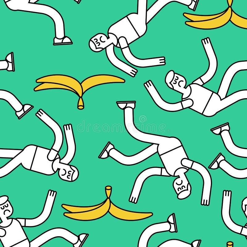 Fall on banana seamless pattern. Slip on banana peel background. Guy flopped ornament. Man fell texture stock illustration