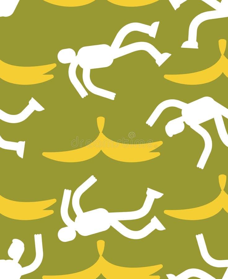 Fall on banana seamless pattern. Slip on banana peel background. Guy flopped ornament. Man fell texture royalty free illustration