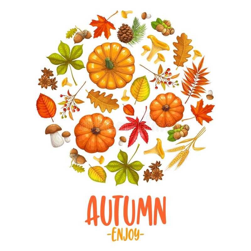 Fall banner with autumn leaves. Pumpkins and mushrooms. Vector illustration royalty free illustration