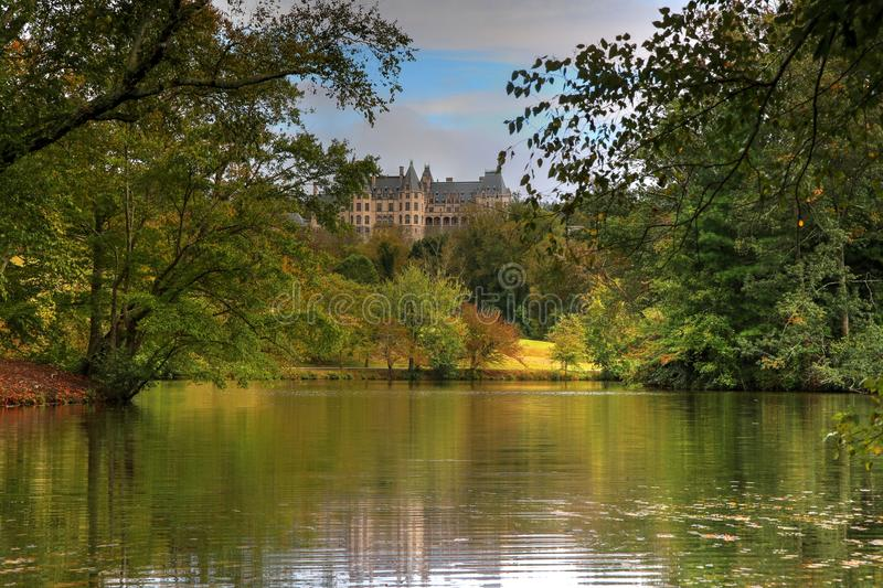 Fall Begins At The Biltmore Lagoon. Autumn begins from the Biltmore Lagoon. Long ago there lived a wealthy man who built a beautiful castle on top of a hill. One royalty free stock photos