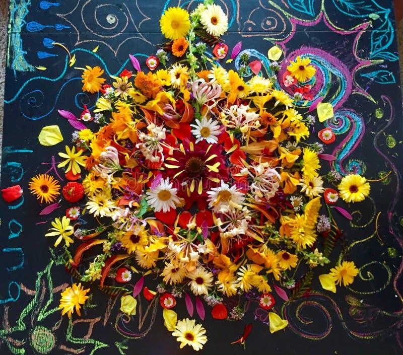 Fall-Blumen-Mandala stockfotografie