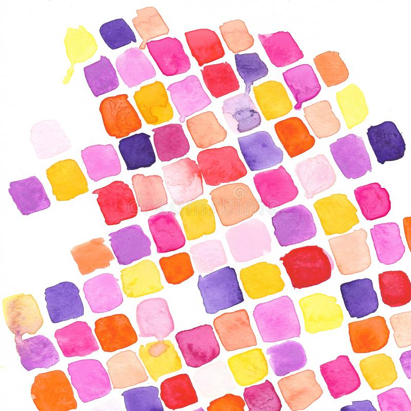 Fall Bright Watercolor Square Pattern. A Bright and fun autumn watercolor texture perfect for a pop of color to your projects or a fun wallpaper royalty free illustration