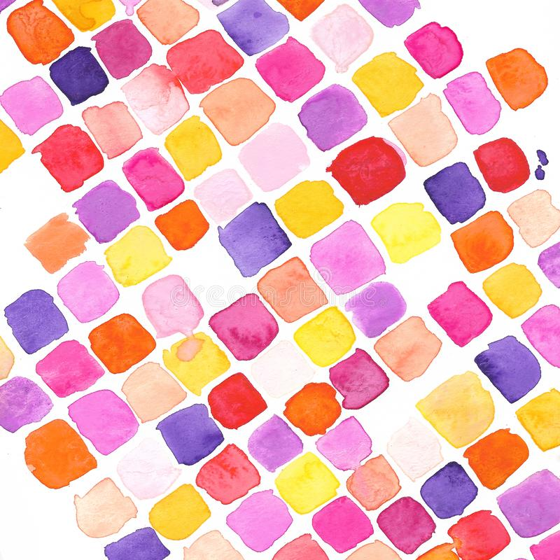 Fall Bright Watercolor Square Pattern. A Bright and fun autumn watercolor texture perfect for a pop of color to your projects or a fun wallpaper royalty free stock photography