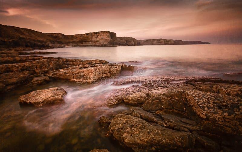 Fall-Bucht Gower Swansea stockfotos