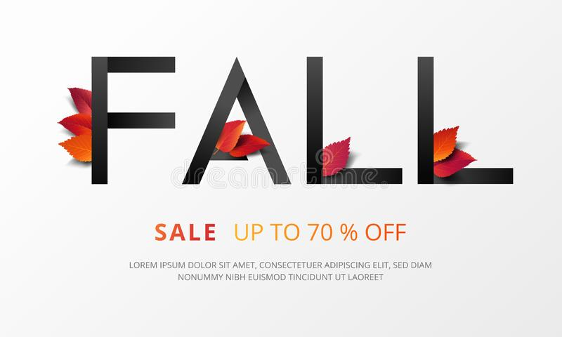 Fall calligraphy decorate with falling leaves in modern style for shopping sale or promo poster and marketing leaflet or social. Media banner. Vector stock illustration