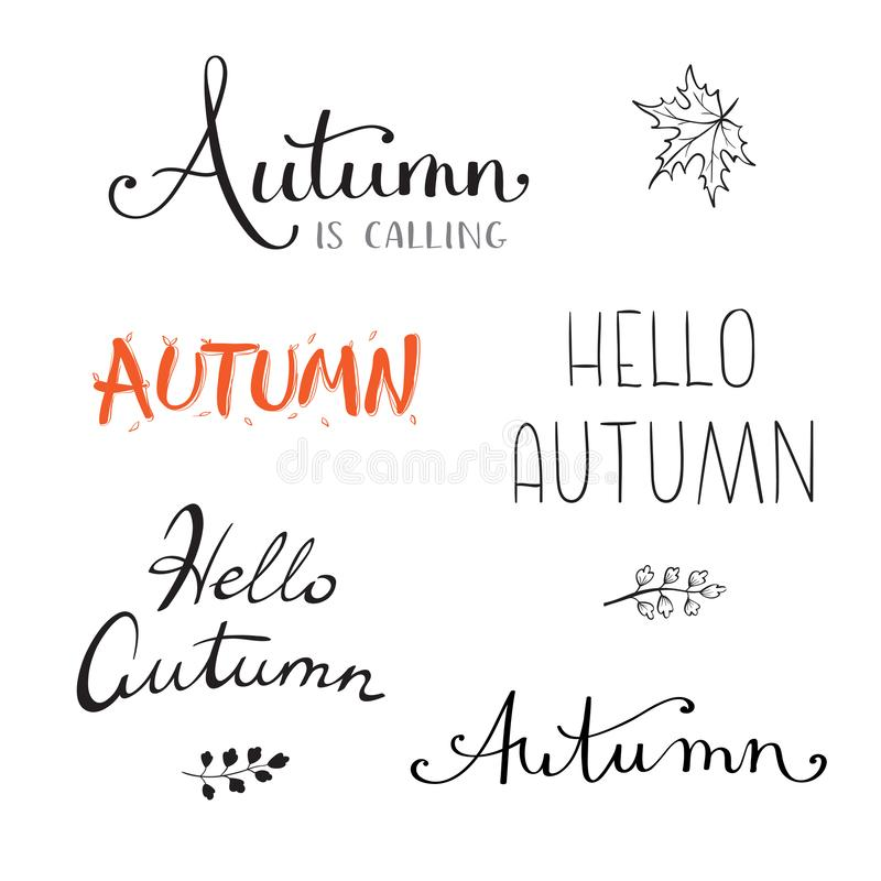 Fall calligraphy set. Big set of hello autumn quotes isolated on white background. Vector illustration royalty free illustration