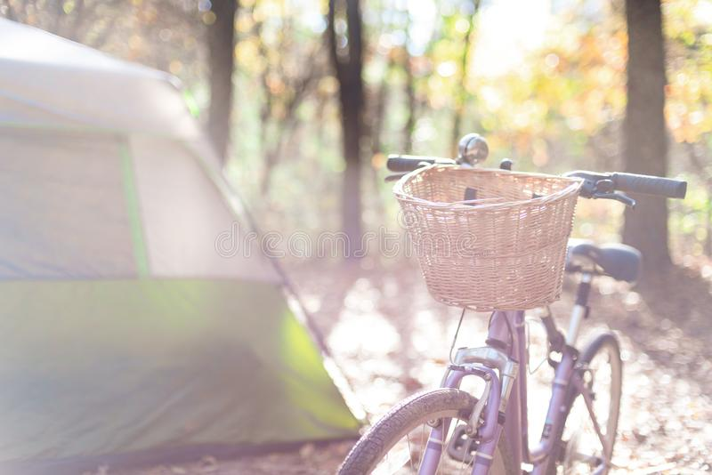 Fall camping with bikes and tent. Fall camping with tent and bike on campsite at Mirror Lake State Park Wisconsin stock image