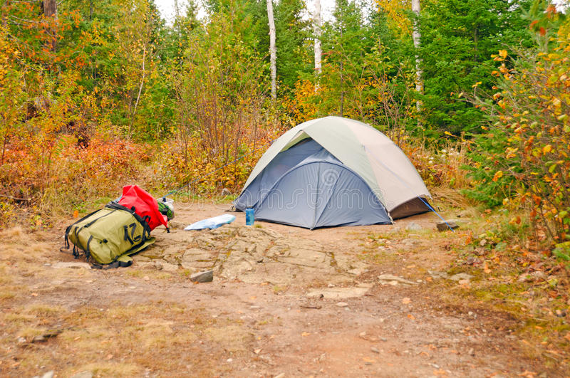Fall Campsite in the wilds stock photo