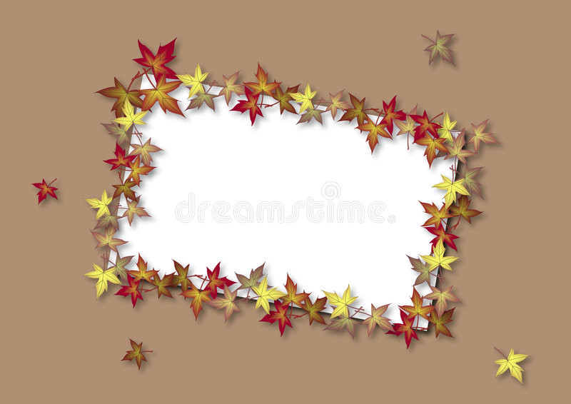 Fall Card Brown. Illustration of blank card bordered by fall leaves stock illustration