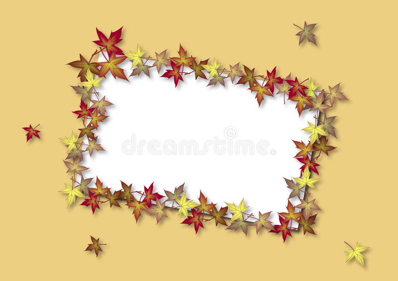 Fall Card Yellow. Illustration of blank card bordered by fall leaves royalty free illustration