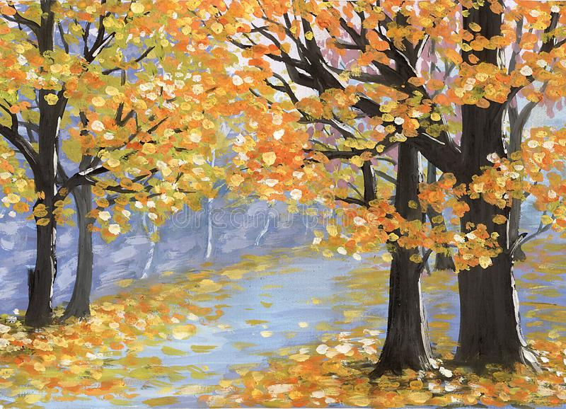 Fall in a city park vector illustration