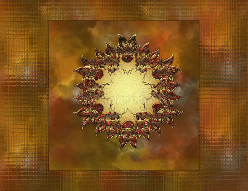 Fall Color Background with Metal Design. First the fall color background was created with a glass block feel. Next the lovely gold and glass metal design was stock illustration