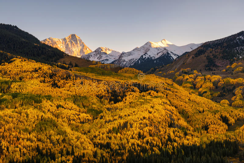 Fall color Capital Peaks, snowmass village, Colorado stock photo