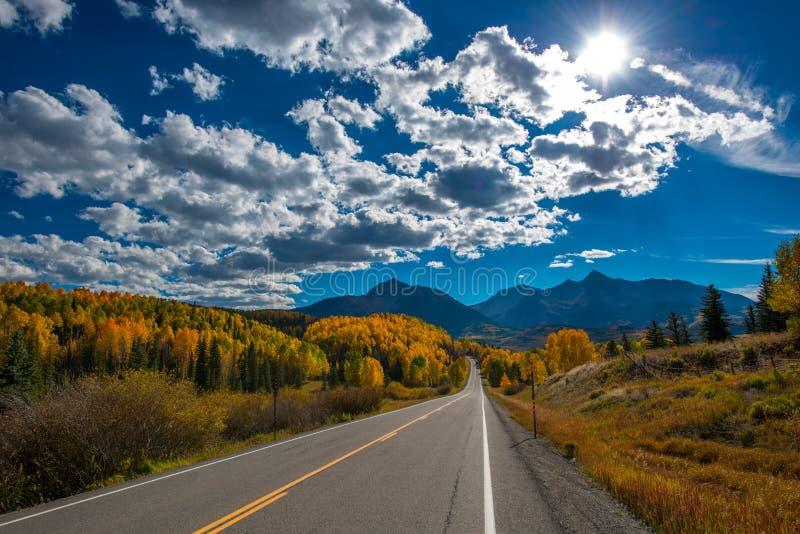 Fall color, Colorado Highway 145 stock photography