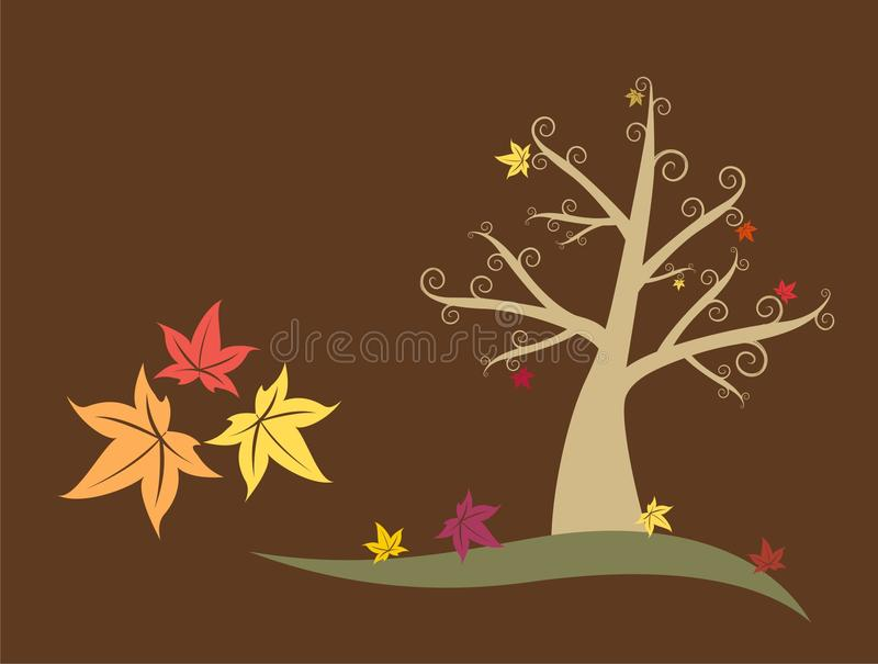 Fall Colors Abstract Tree. With Maple Leafs stock illustration