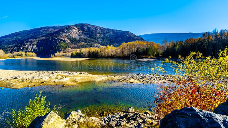 Fall colors along the North Thompson River between Clearwater and Little Fort in BC royalty free stock photos