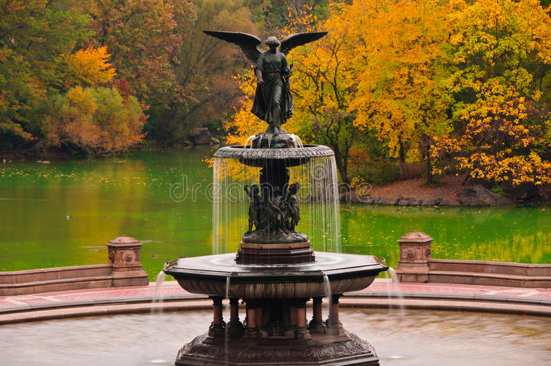 Fall colors at Bethesda Fountain in Central Park. stock image