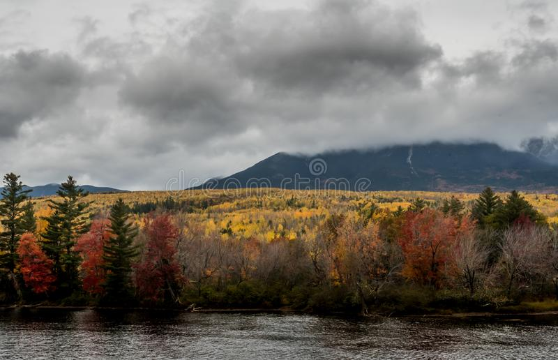 Fall Colors Blanket the Base of Mount Katahdin royalty free stock images