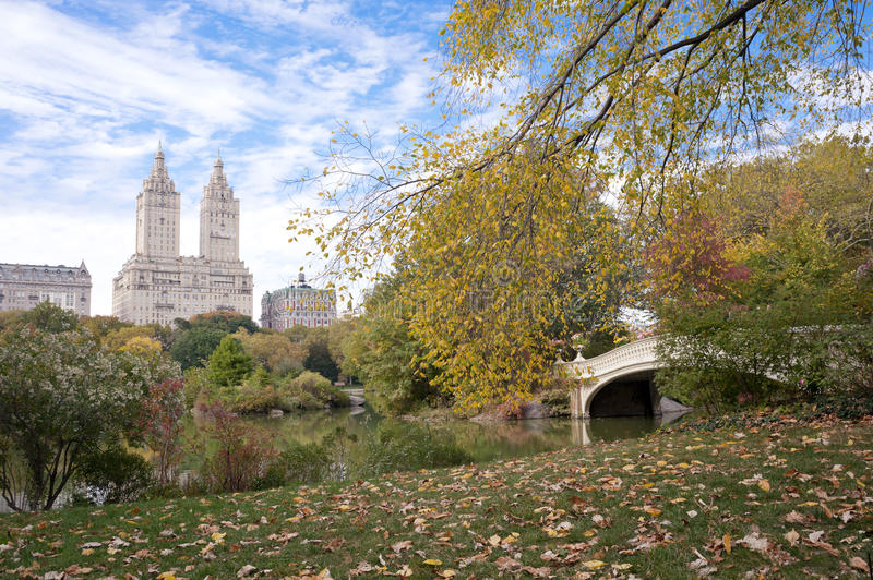 Fall colors in Central Park New York City royalty free stock photo