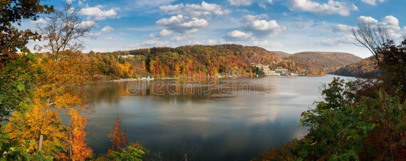 Fall colors on Cheat Lake Morgantown. Panorama of the autumn fall colors surrounding Cheat Lake near Morgantown, West Virginia stock photo