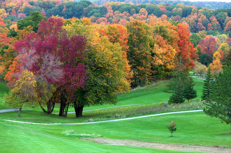 Download Fall colors in golf course stock photo. Image of america - 27249034