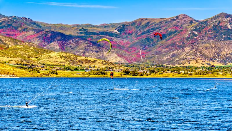 Fall Colors on the hills surrounding Deer Creek Reservoir near Provo. Utah, United States royalty free stock photos