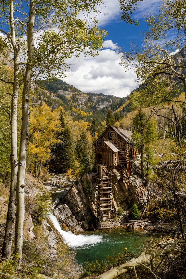 Fall Colors at Historic Crystal Mill stock photography