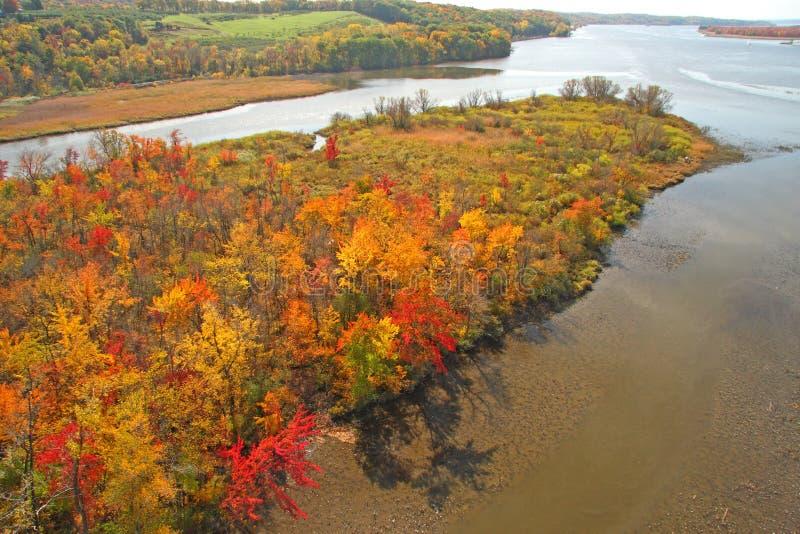 Fall colors on Hudson River island wetland royalty free stock photos