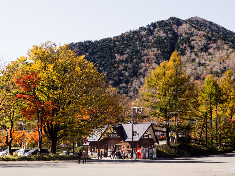 Fall colors in Nikko-Yumoto hot spring village royalty free stock images