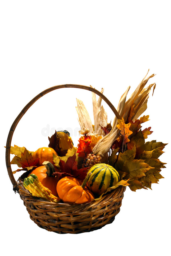 Fall Colors Vegetable Basket Isolated on White stock photos
