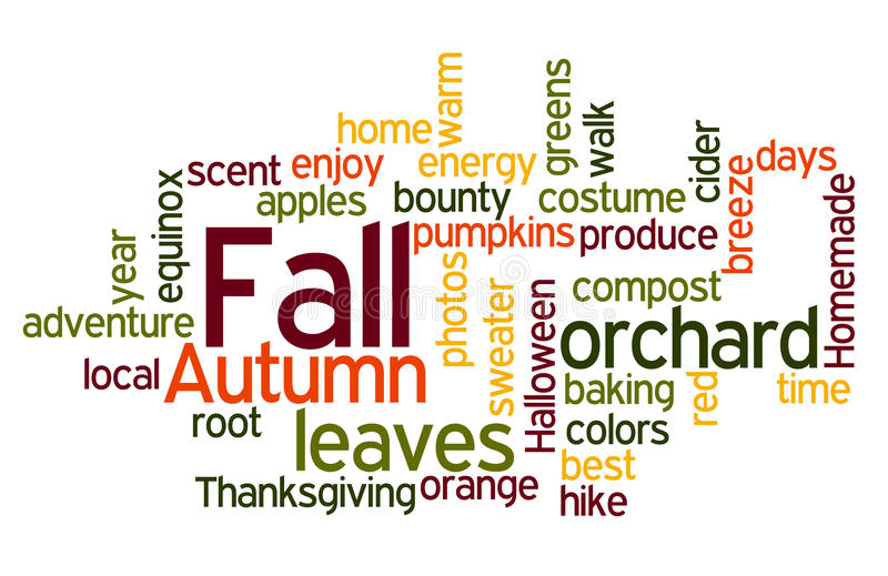 Download Fall Colors Wordcloud stock illustration. Image of days - 16423849