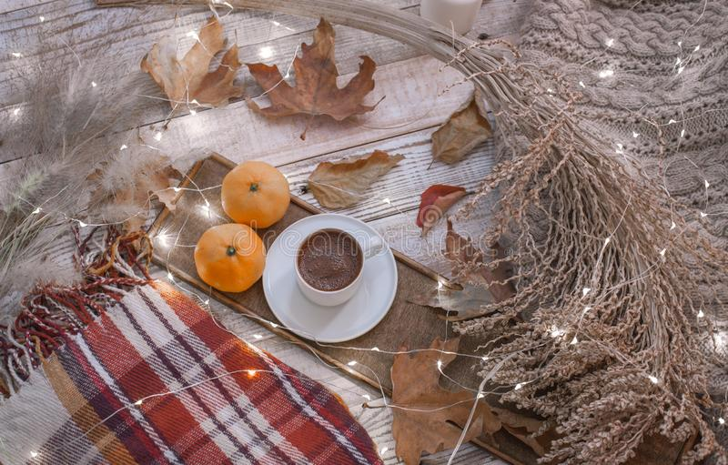 Fall cozy day with candles royalty free stock photography
