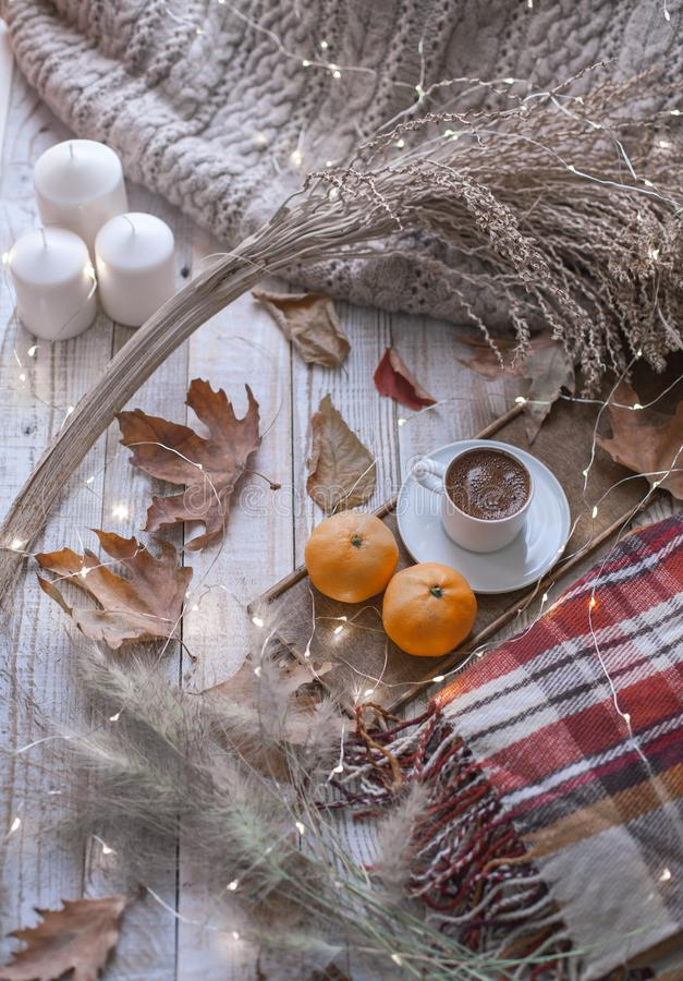 Fall cozy day with candles stock image