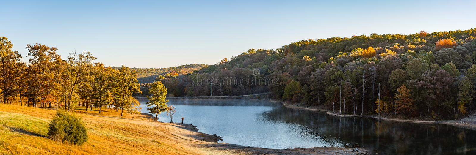 Daybreak by a stream in the Ozarks mountains of Missouri stock photo