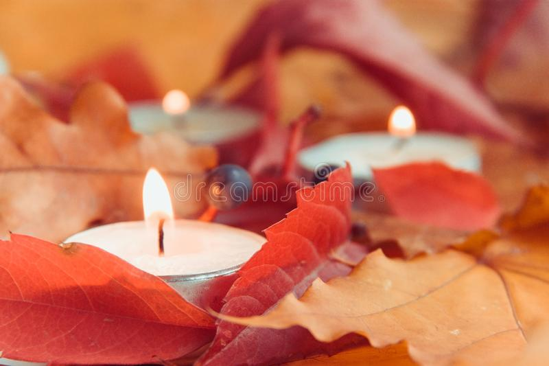Fall decorations concept with candle fire royalty free stock images