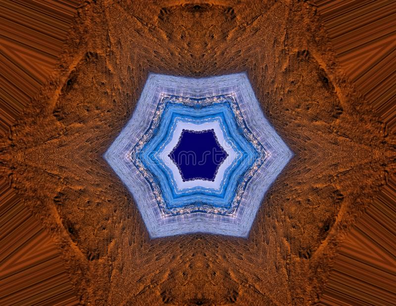 Fall Design Star Mandala Design. This mandala was created by using an outdoor image of land and sky royalty free stock photos
