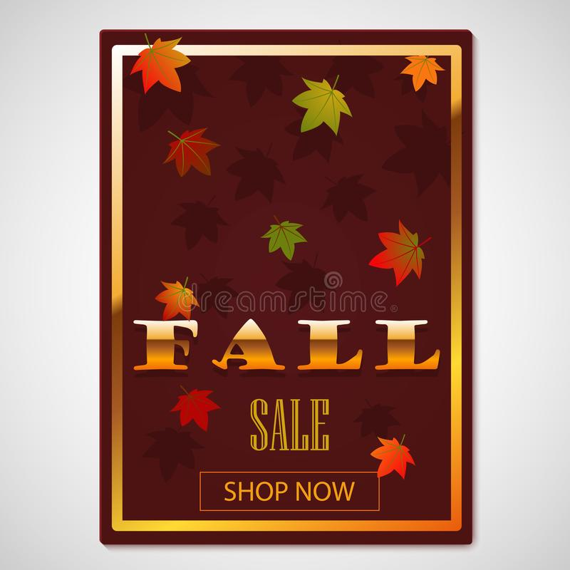 Fall discount. Fall sale. Autumn Background with leaves for shopping sale or promo poster and frame leaflet or web banner with. Falling autumn leaves. Gold stock illustration