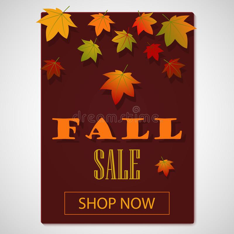 Fall discount. Fall sale. Autumn Background with leaves for shopping sale or promo poster and frame leaflet or web banner with. Falling autumn leaves. Flat stock illustration