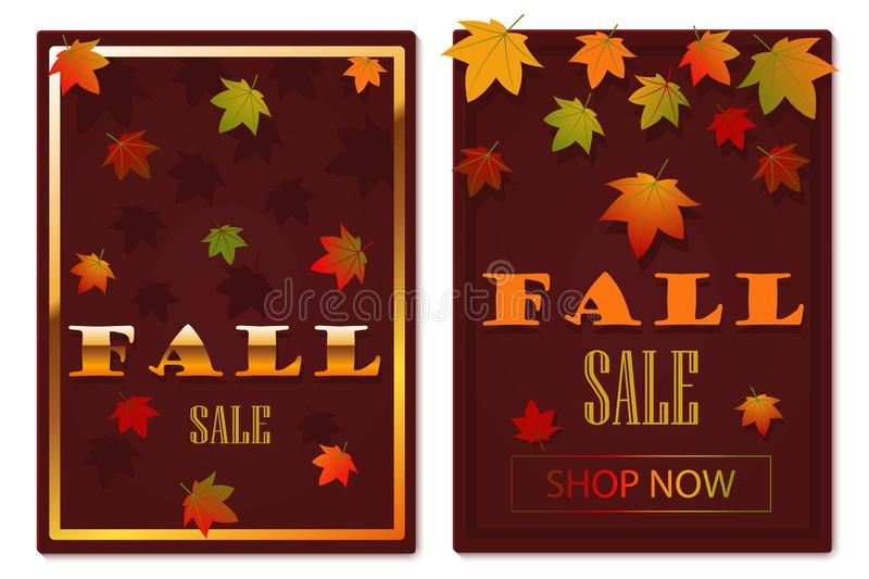 Fall discount. Fall sale. Banner or poster with falling autumn leaves - set. Autumn flat vector template with place for text. Fall. Season social media banner royalty free illustration