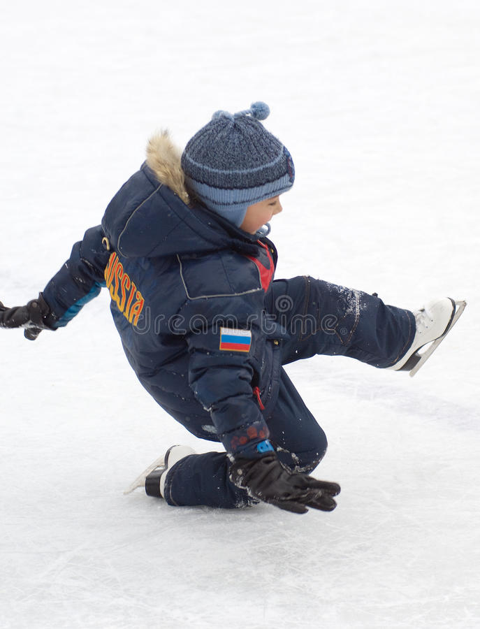 Fall down on the ice royalty free stock image