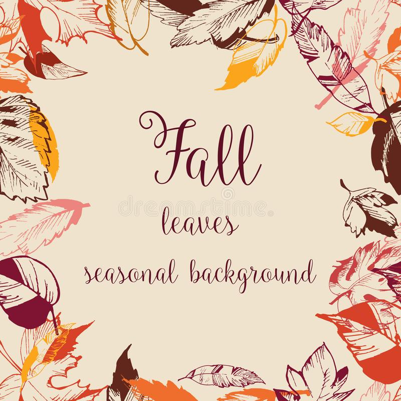 Fall dry leaves frame. Space for text stock illustration